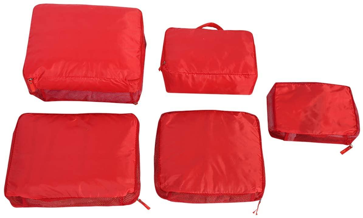 SANON 5 Pcs Luggage Suitcase Storage Bag Set, Clothes Underwear Socks Packing Cube Storage Travel Luggage Organizer Bag.(RED)