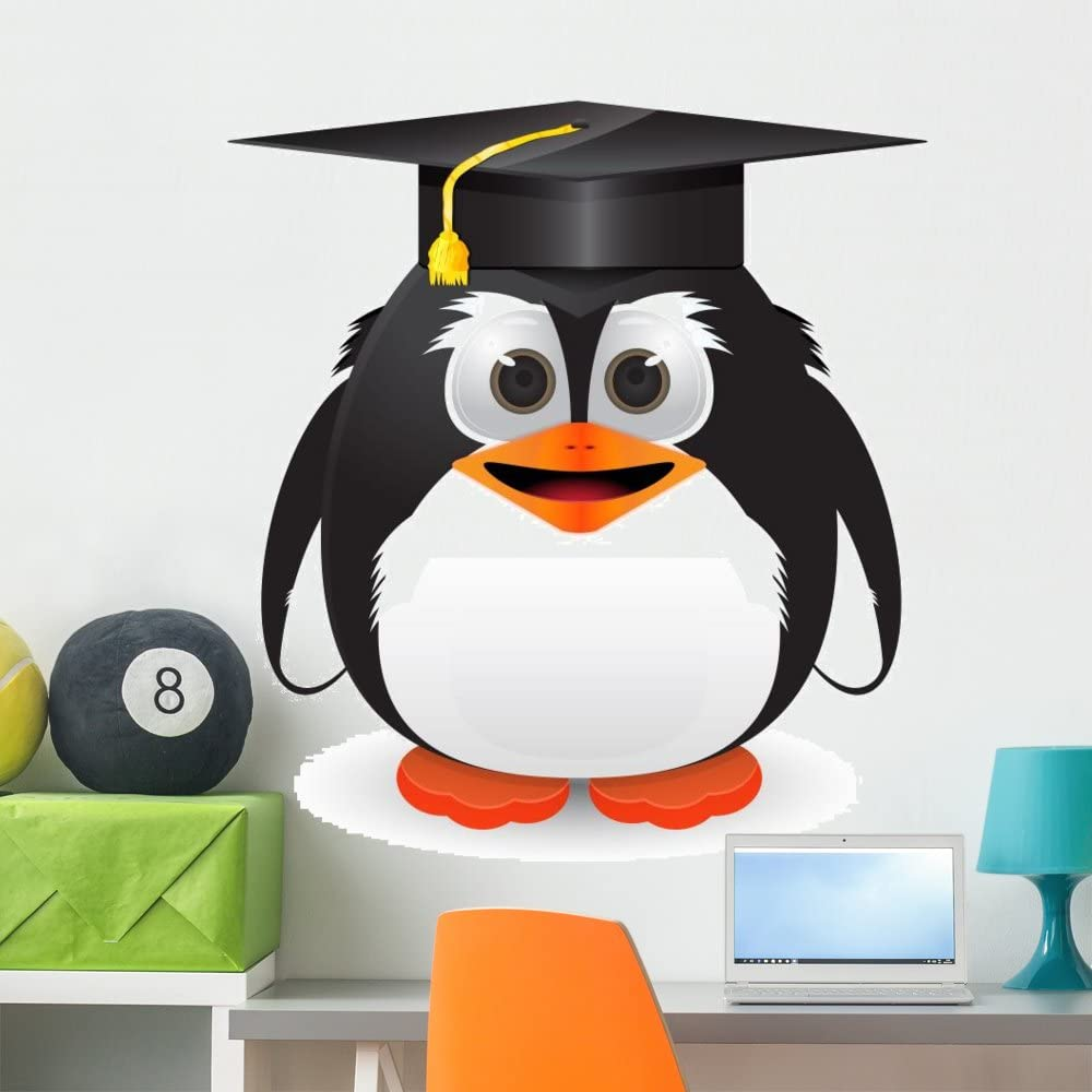 Wallmonkeys Penguin with Graduation Cap Wall Decal Peel and Stick Graphic (36 in H x 36 in W) WM346221
