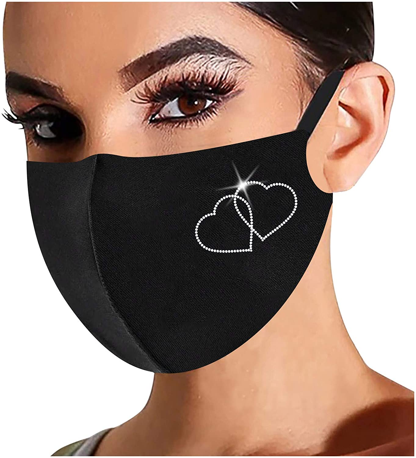 Rhinestone Face_Masks Christmas Snowflake Balaclava Xmas Unisex Reusable Windproof Anti-Dust Mouth Bandanas for Women