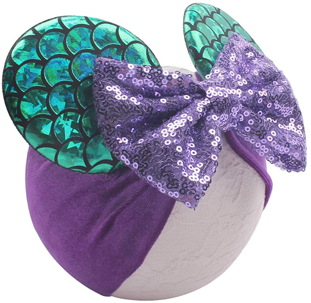 Baby Mouse Ear Sequin Head wrap Stretchy lightweight Turban Knotted hairband for baby/Toddlers up for 4 years