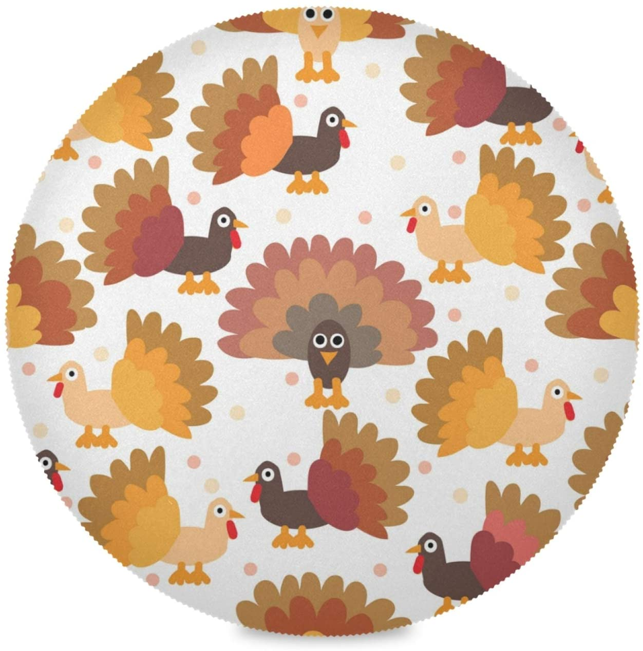 Qilmy Happy Thanksgiving Turkey Placemats Round Table Mats, Non-Slip Washable Heat Resistant Waterproof Placemat for Home Kitchen Coffee Table Decoration 4PCS