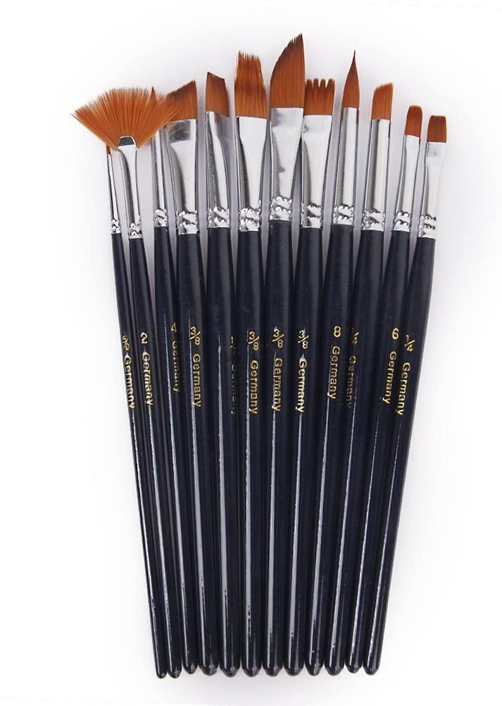ULTNICE 12pcs Paint Brushes Set Nylon Paint Brush Watercolor Acrylic Oil Painting Brush
