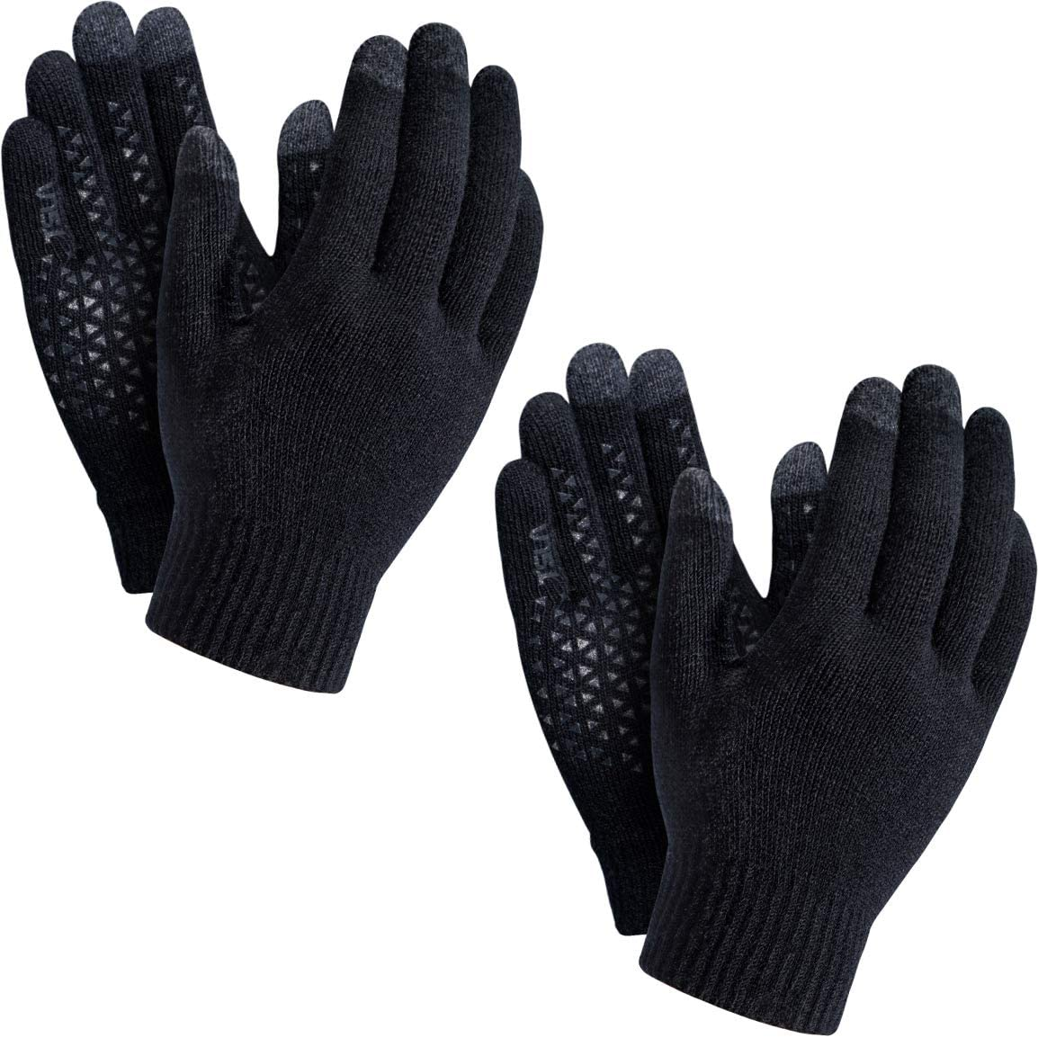 TSLA 1 or 2 Pack Men and Women Touch Screen Winter Gloves, Texting Anti-Slip Thermal Warm Knit Gloves, Cold Weather Running Gloves