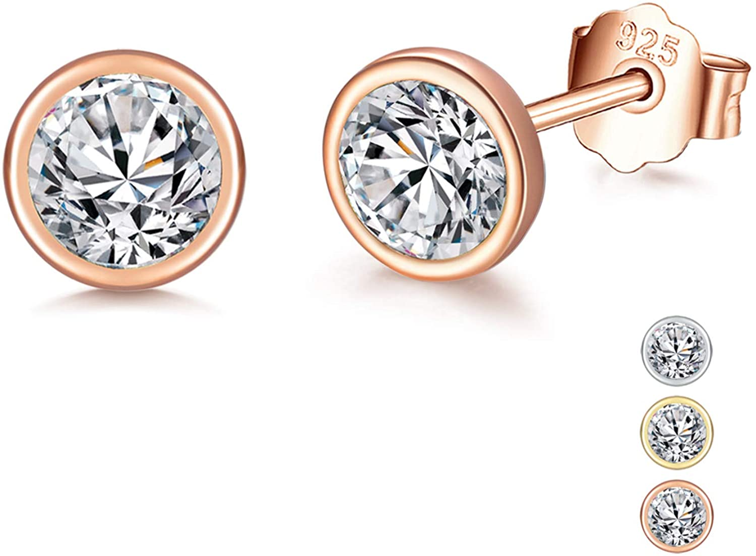Ccino 925 Sterling Silver Stud Earrings for Women, Silver Stud Earrings with Cubic Zirconia, Hypoallergenic Small Sleeper Cartilage Studs for men, Sizes 3/4/5/6mm, 3 Colors in Silver/Gold/Rose Gold