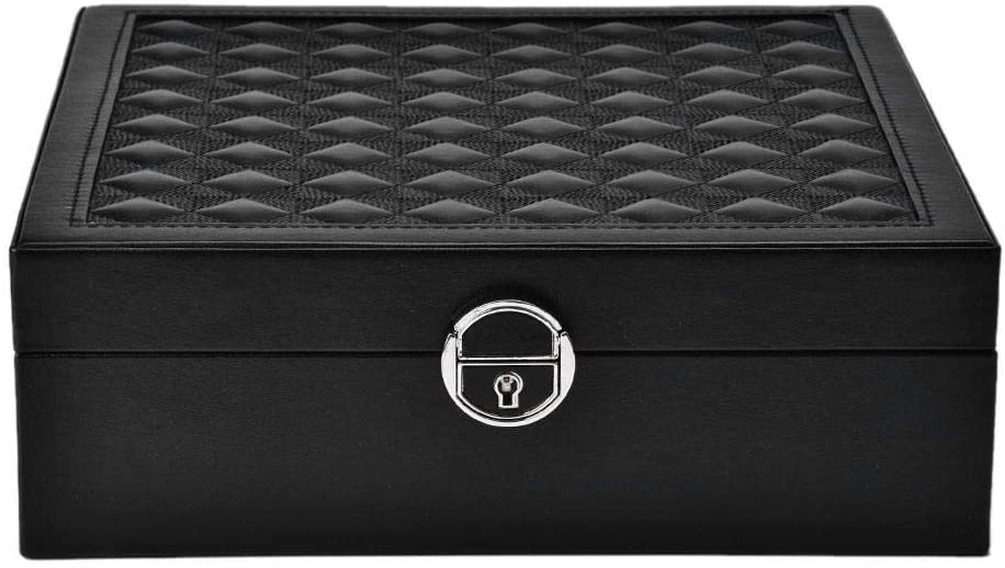 Pongnas Women's 2-Layer Jewellery Box with Detachable Size Mirror, Black Pu Leather, Earrings, Ring, Necklace, Jewelry Lockable Jewelry Storage Box