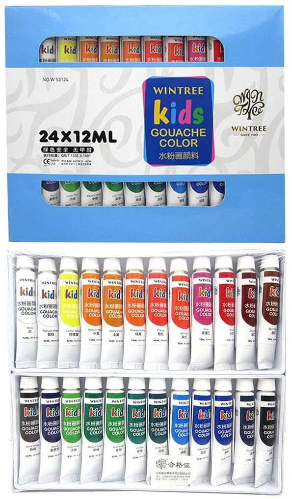 loweyuiroy 6milliliter 12 Color Gouache Paint Pen, Gouache Paint Set 12 Vibrant Colors in Tubes Easy Convenient to Mix with Great Results 24 Colors