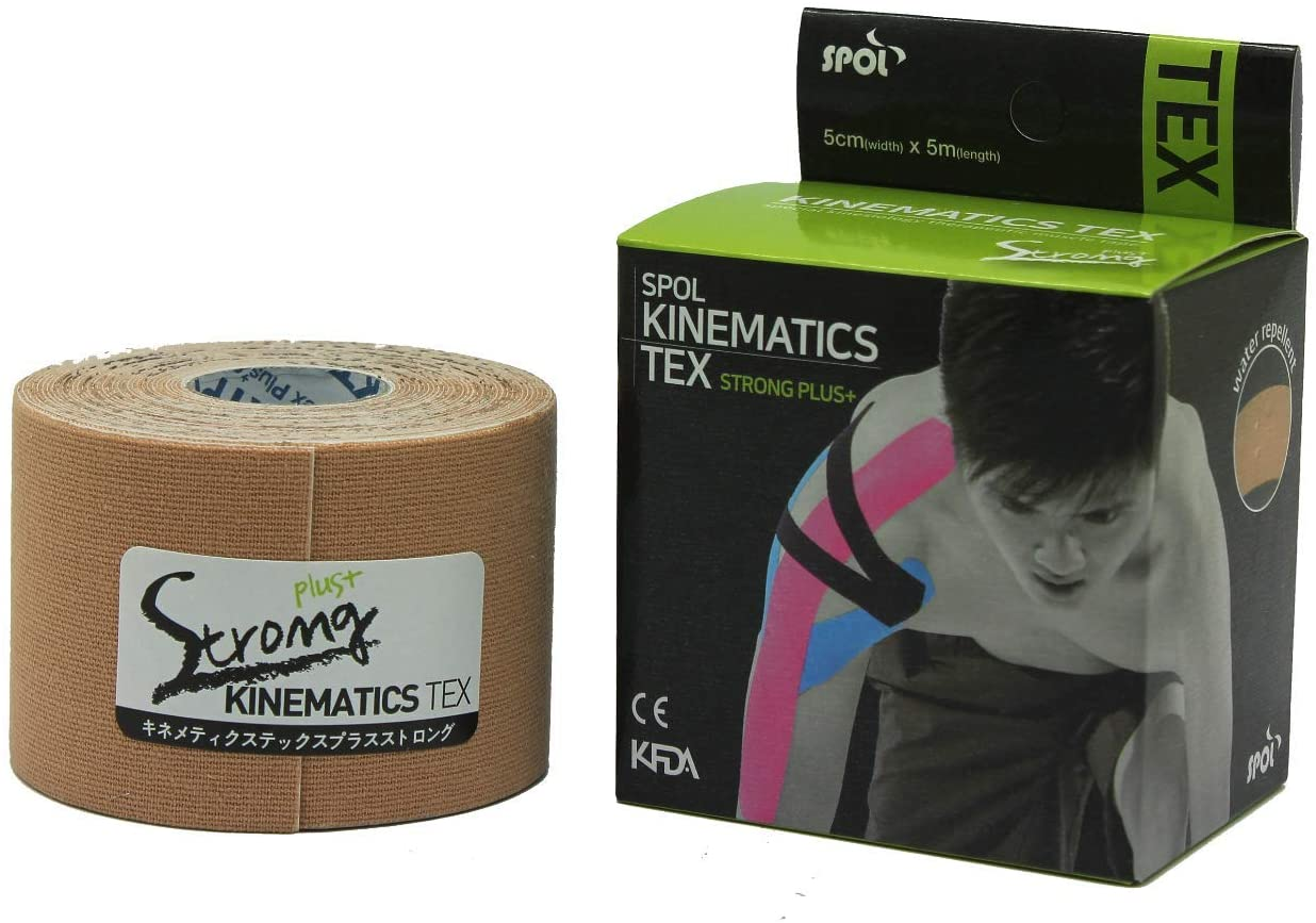 SPOL Kinematics Strong Sports Tape Kinesiology Tape Muscle Tape 20% Adhesion Up 1.97in x 5m 10Colors (Black)