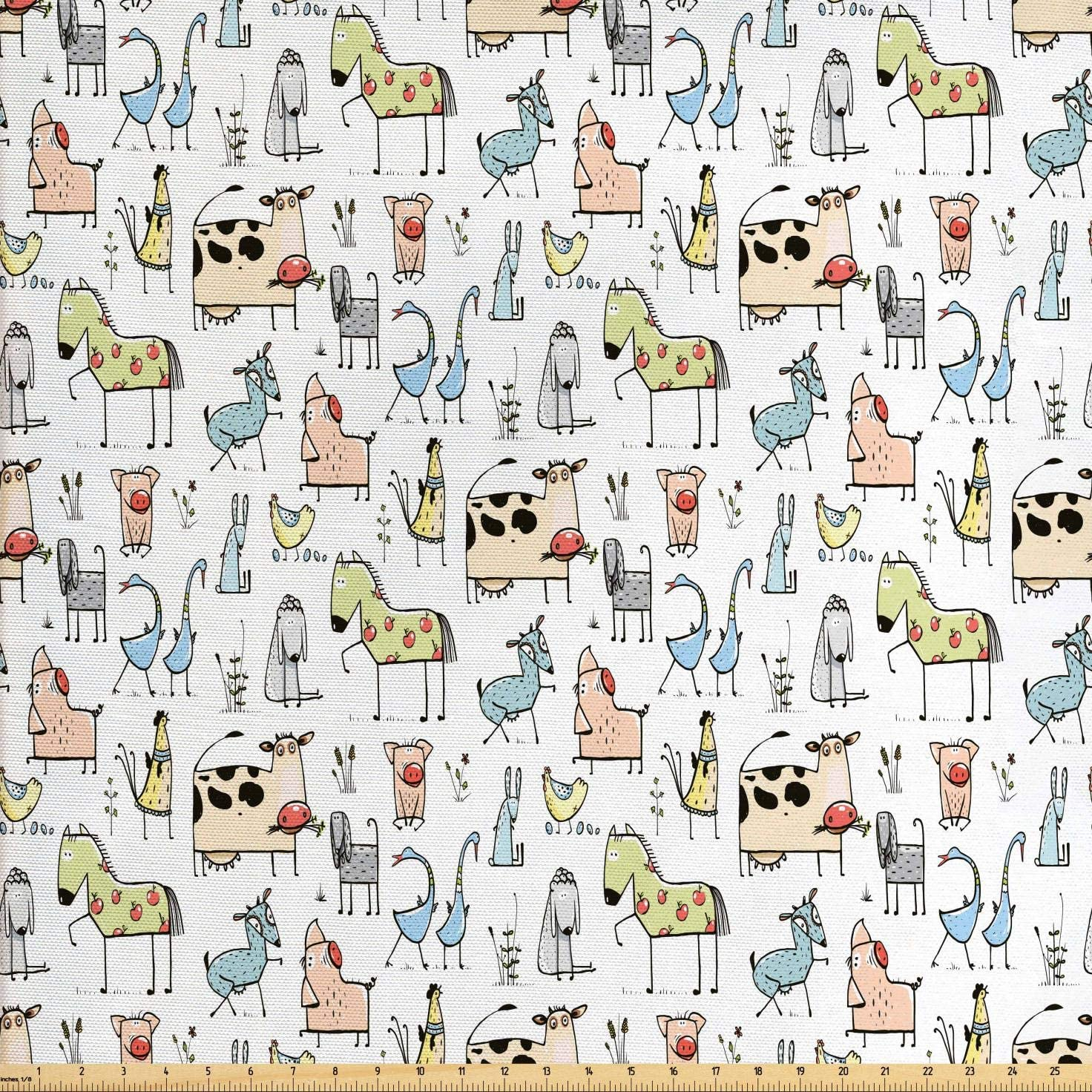 Lunarable Animal Fabric by The Yard, Cow Horse Pigs Chicken Sheep Farmhouse Mascots Kids Nursery Baby Cartoon Print, Decorative Fabric for Upholstery and Home Accents, 3 Yards, Black
