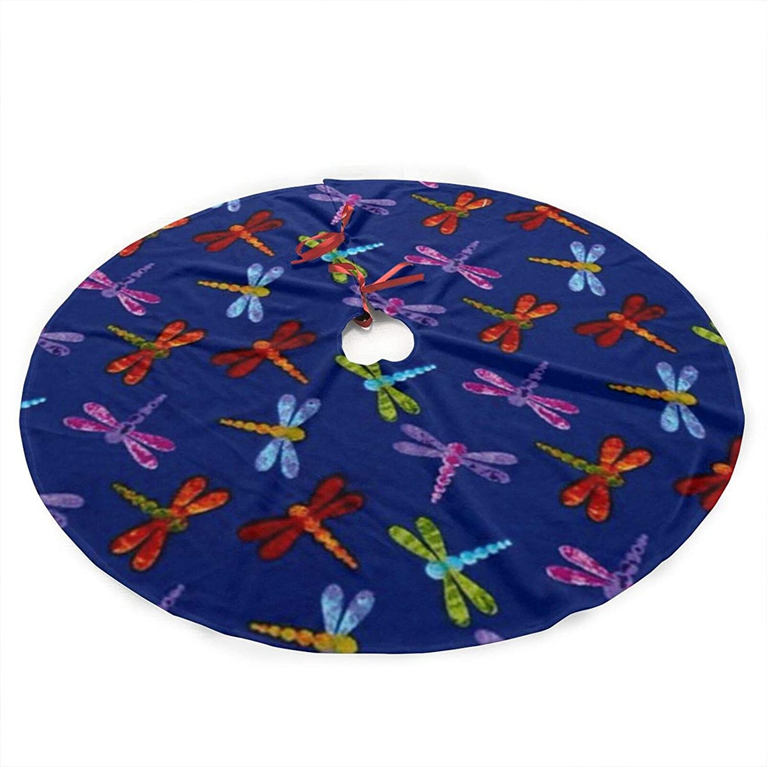 antcreptson Colorful Dragonfly Christmas Tree Skirt 36