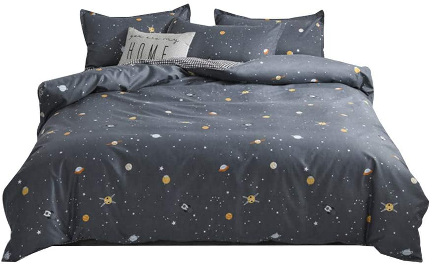 BeddingWish Grey Planet Universe Star Bedding Hidden Zipper Reversible Kids Duvet Cover Sets Queen 4Pcs (1 Duvet Cover +2 Pillowcase + 1 Flat Sheet)