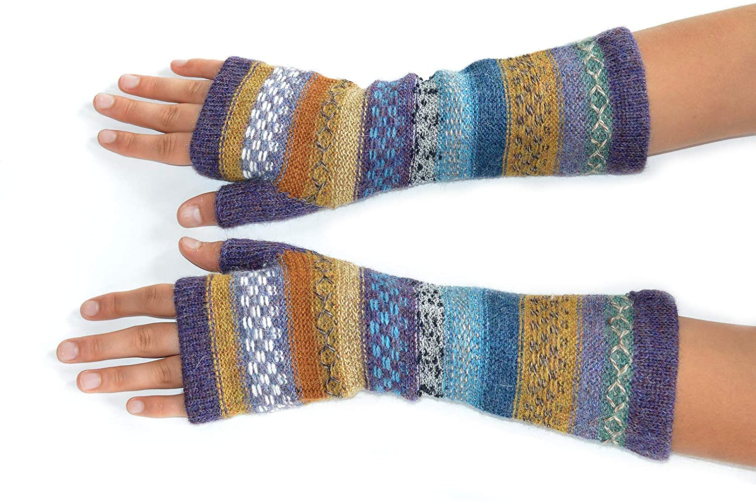 Invisible World Women's Alpaca Wool Fingerless Gloves Texting Typing