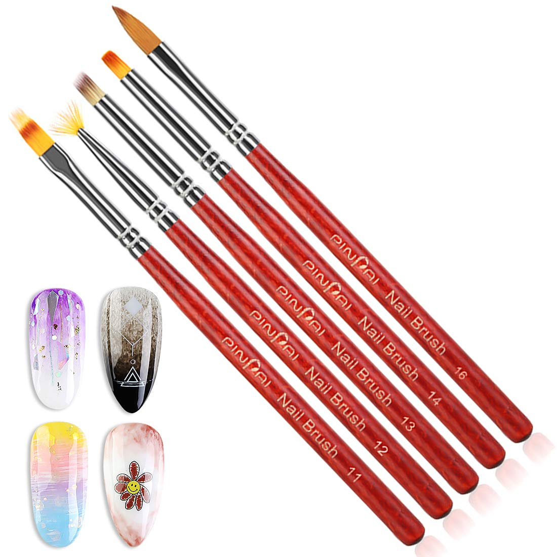 WOKOTO 5Pcs Nail Brushes For Acrylic Application Gel Builder BrushesWooden Nail Ombre Pen Manicure Gradient Design Tools