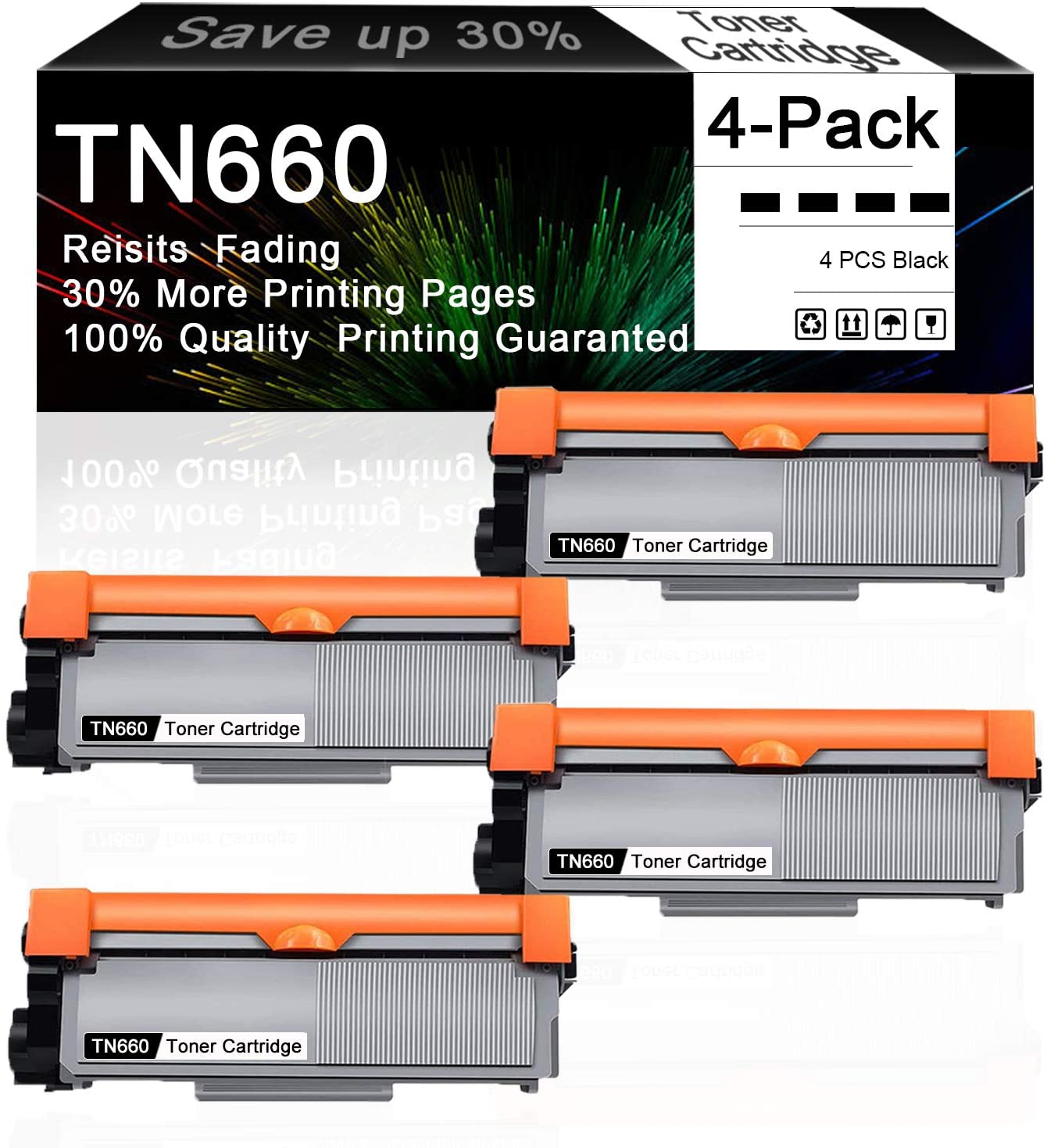 Compatible TN660 TN-660 (Black, 4-Pack) High Yield Toner Cartridge Replacement for Brother HL-L2300D HL-L2340DW HL-L2360DW MFC-L2700DW MFC-L2705DW DCP-L2540DW Printer, Sold by CuToner.