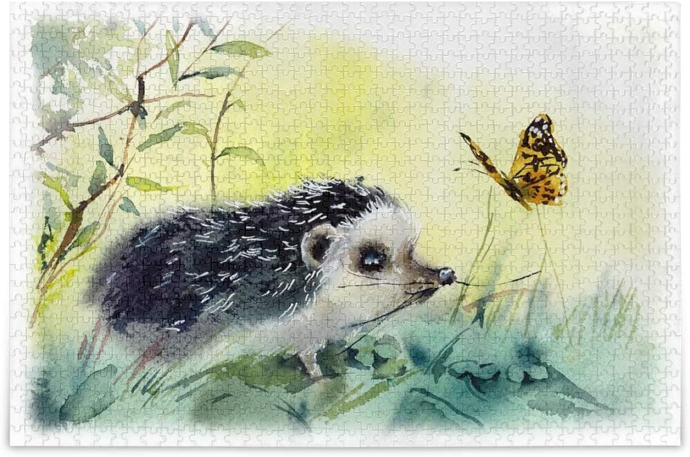 vvfelixl Hedgehog Playing with Butterfly Watercolor Painting Jigsaw Puzzle 500 Pieces Wooden Puzzles DIY Gift Child Fun Family Game Difficult and Challenge for Adults Kids