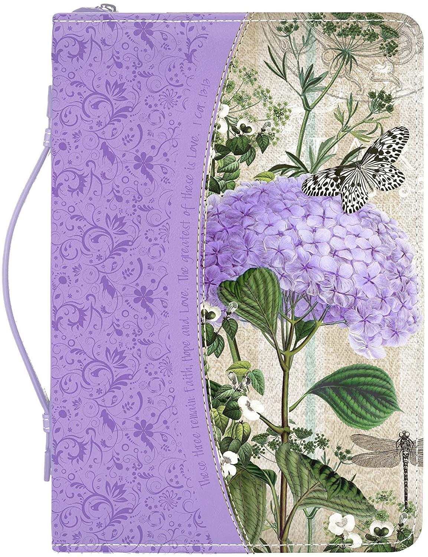 Faith Hope Love Hydrangea Floral Purple Large Faux Leather Bible Cover