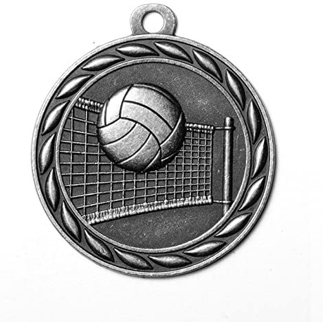 Customizable 2 Inch Volleyball Medal in Antique Silver Attached to Ribbon, includes Personalization - Pack of 12