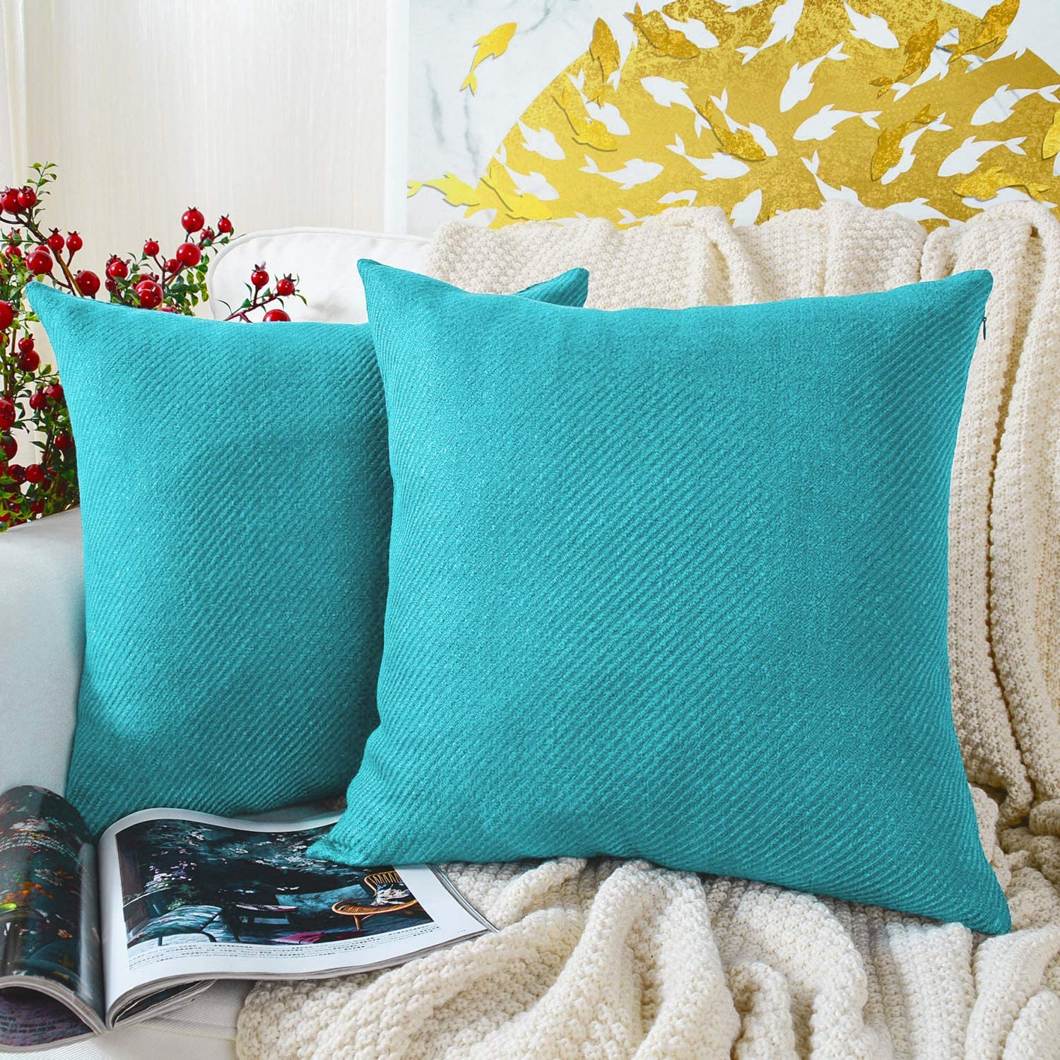 MERNETTE Pack of 2, Chenille Soft Decorative Square Throw Pillow Cover Cushion Covers Pillowcase, Home Decor Decorations for Sofa Couch Bed Chair 18x18 Inch/45x45 cm (River Blue)