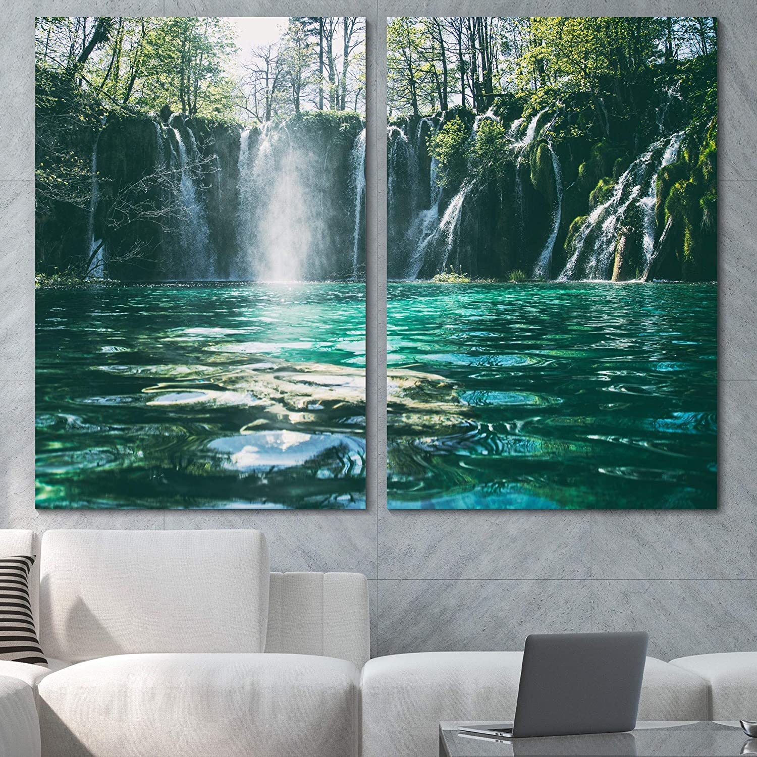 Sign Leader Forest Waterfalls Wall Art Multicolor Nature Photography Canvas Prints for Living Room Bedroom - 24