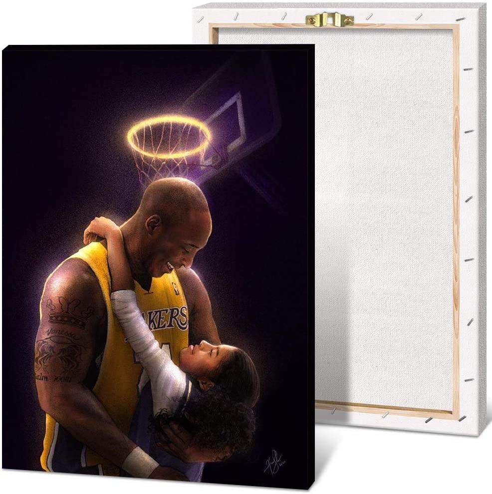 Kobe Bryant Basketball Star Player Portrait Poster Wall Art Living Room Art Image Home Decor Framed Ready to Hang 24x36 inch