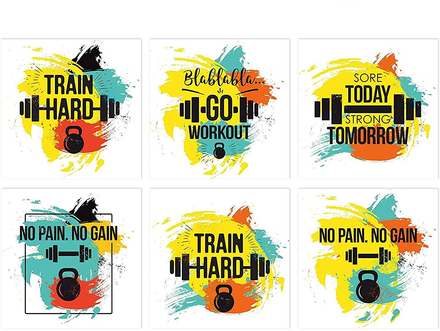 Home Gym Decor | Set Of 6 11x11 Inspirational Gym Posters | Motivational Fitness Wall Art | Quotes For Room Decor | Inspirational Workout Lover Gift