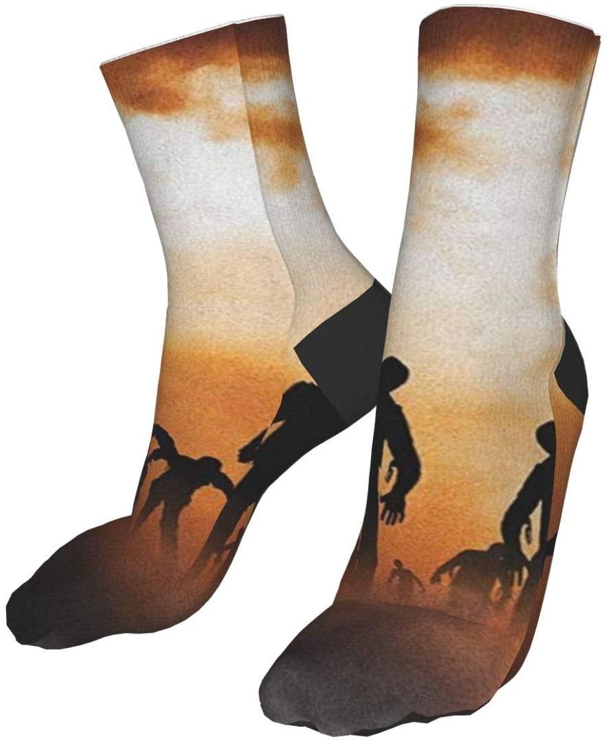 Zombies Dead Men Walking Body in The Doom Mist at Night Sky Haunted Theme Compression Socks Training Socks Crew Athletic Socks Long Sport Soccer Socks Soft Knee High Sock Christmas Socks