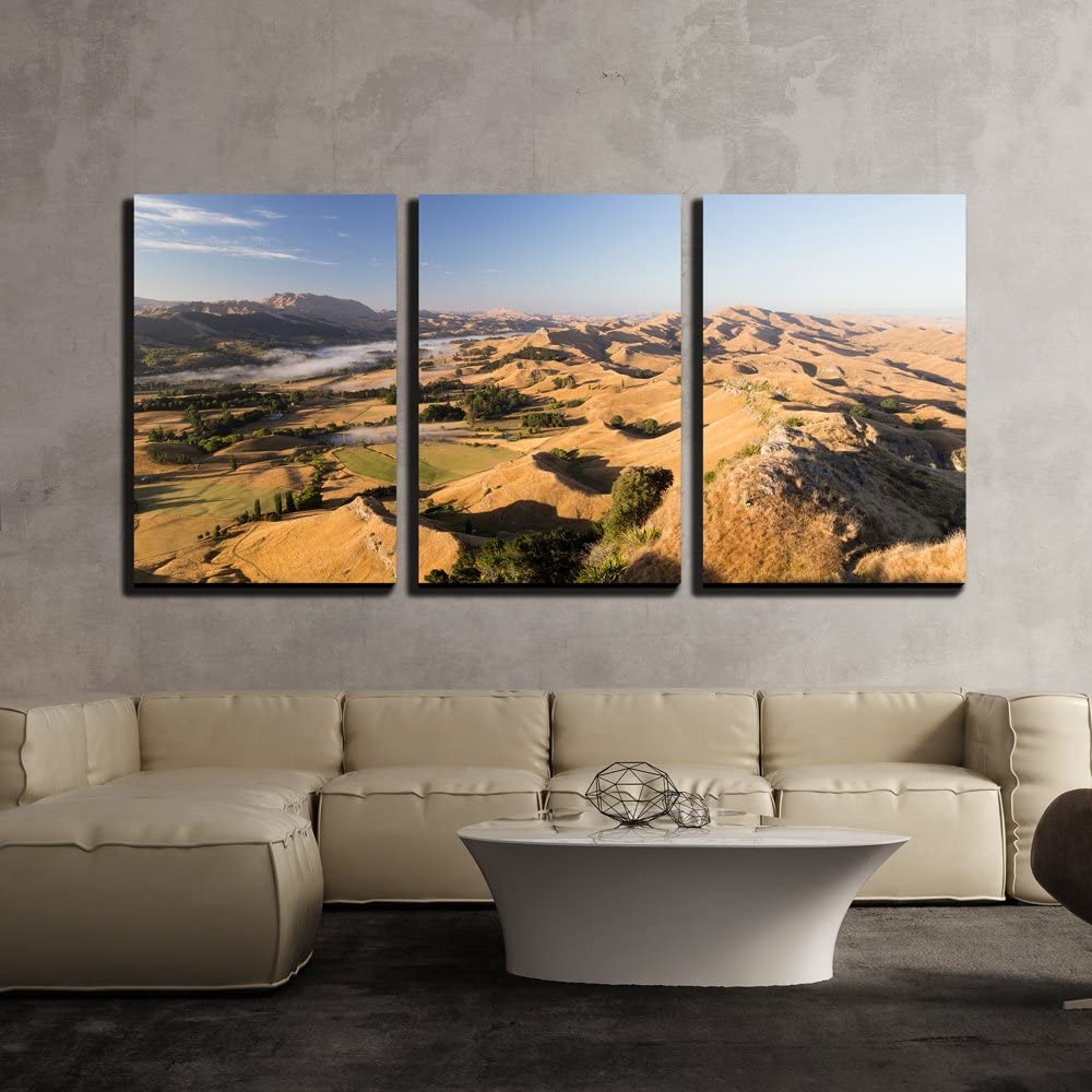 wall26 - 3 Piece Canvas Wall Art - Landscape of Desert Hill with Oasis Under Sky - Modern Home Art Stretched and Framed Ready to Hang - 24