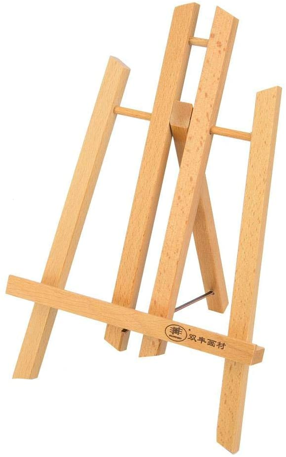 HEEPDD Artist Easel, Reinforced Wood Tripod Display Easel Small Artist Drawing Painting Easel Portable Table top Easel Display Stand(Tabletop Easel 30cm)