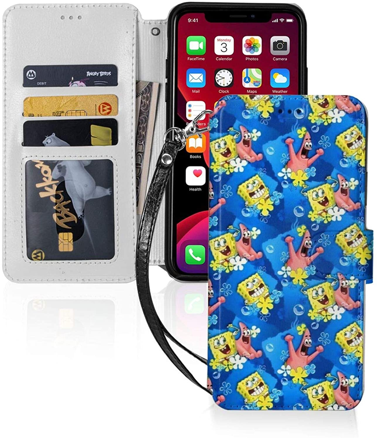 Sponge-Bob Square-Pants Wallet Case Flip Cell Phone Cases for iPhone 11 with Wrist Strap Credit Cash Cover Slots Holder Carrying Pouch TPU+Pu Leather Cover iPhone 11 Pro