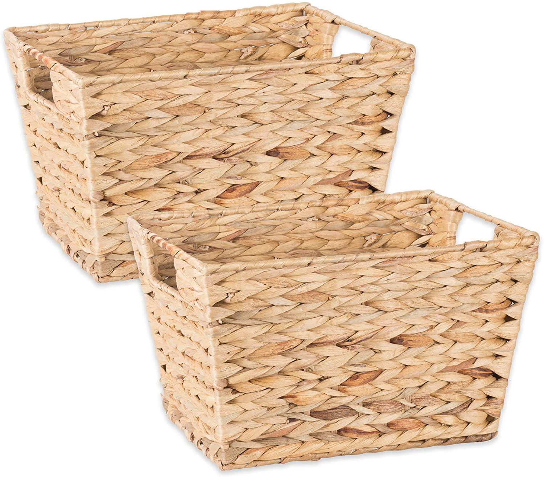 Contemporary Home Living Set of 2 Beige Unique Medium Water Hyacinth Rectangular Storage Basket, 11