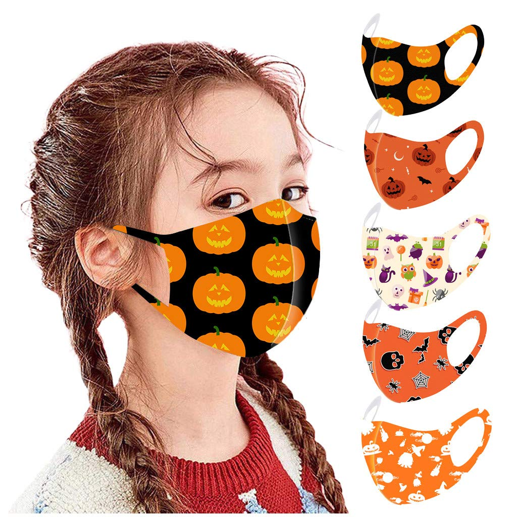 OMGYST 5PCS Cotton Face Bandana_Covering_MASK for Kids Breathable Washable and Reusable Face Guard Face Novelty Bandanas for Adult Indoor Outdoor Use