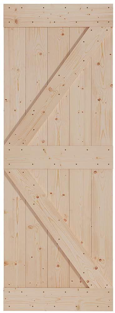 FREDBECK Sliding Barn Wood Door Slab DIY Unfinished Door 30in x 84in (Fit 5FT Rail)