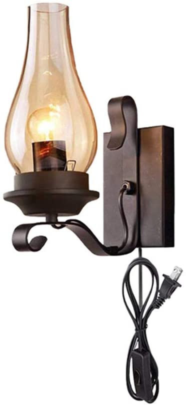 KWOKING Lighting Vintage Industrial Wall Sconce Vintage Plug in Candle Sconce Wall Lighting with Cognac Glass Shade Oil Lamp for Corridor Fireplace Dining Room