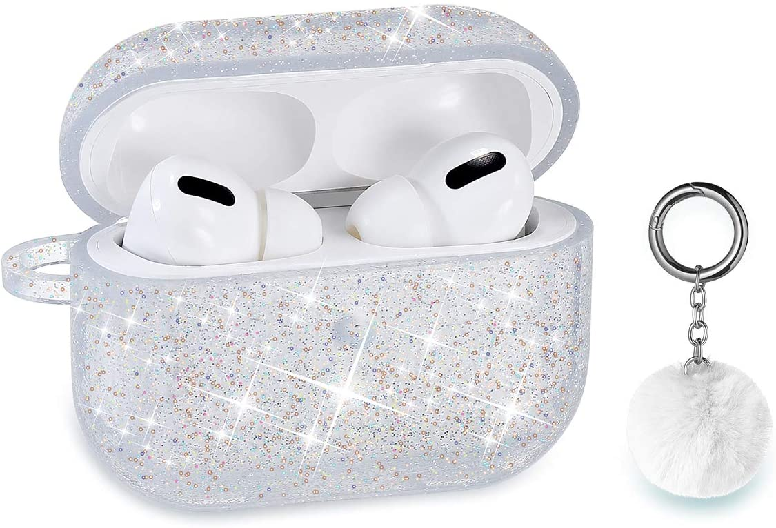 Airpods Case, DMMG Airpods Case Cover Silicone Skin, AirPods Protective Bling Glitter Case with Fluff Ball Keychain, Scratch Proof and Drop Proof for Apple Airpods Pro (Pro Silver)