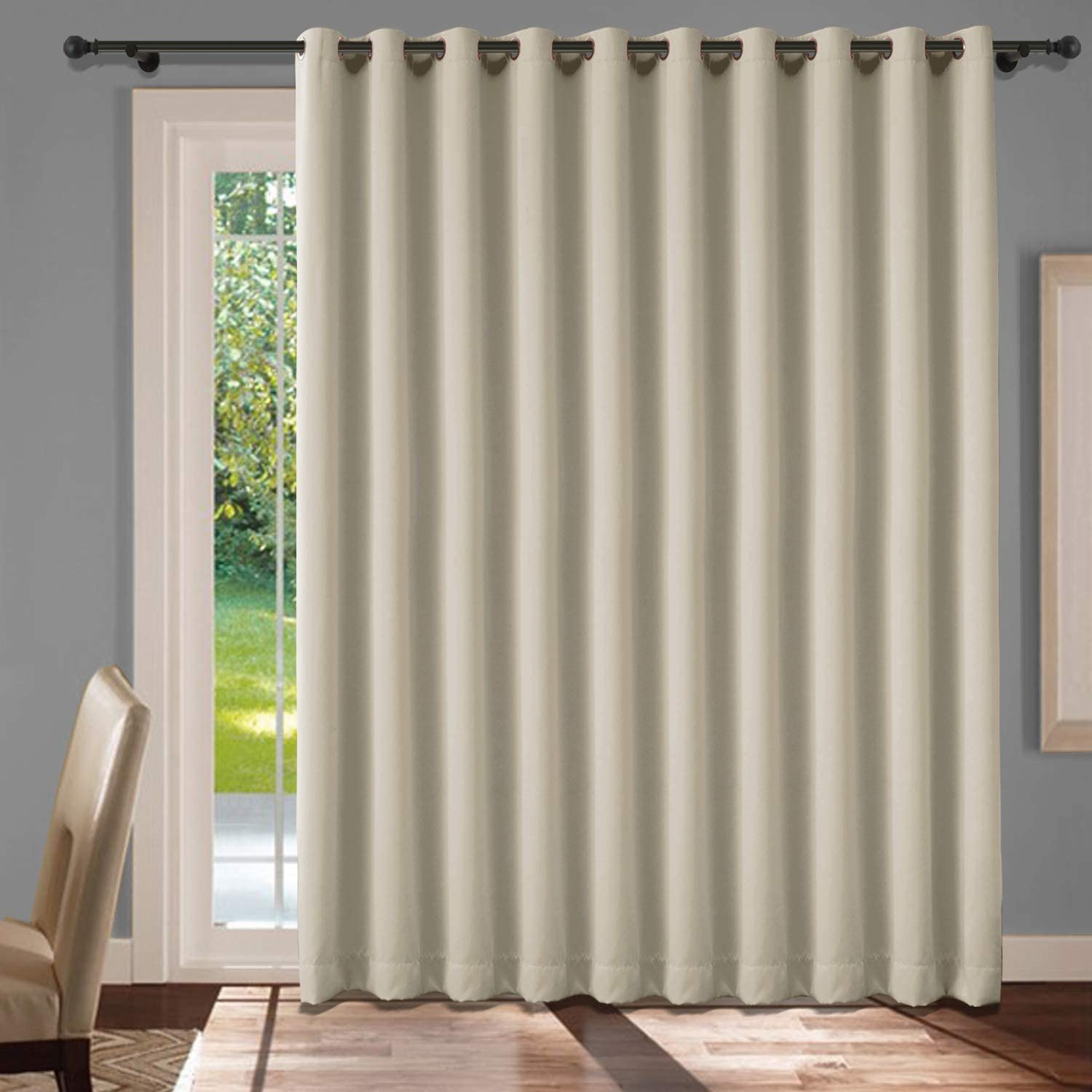 cololeaf Bedroom Blackout Curtains Panels - Window Treatment Thermal Insulated Solid Grommet Blackout for Living Room Bedroom Dining Room Family Room - Beige 52W x 84L Inch (1 Panel)