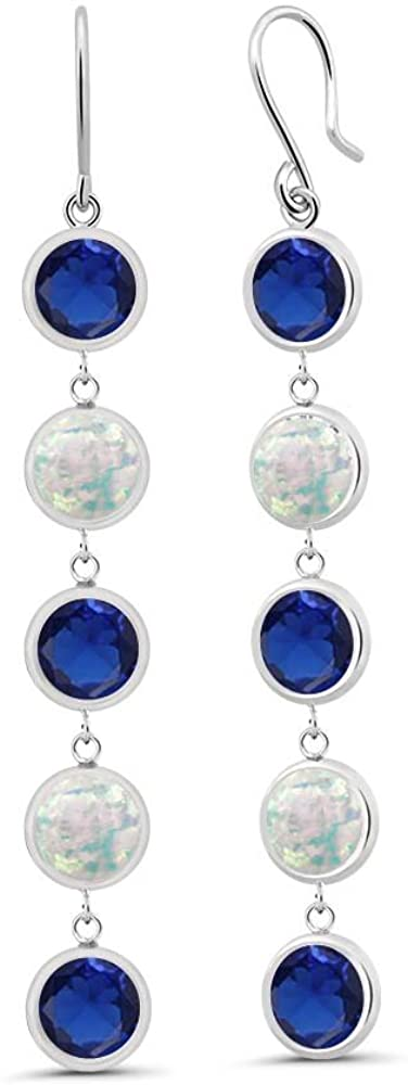 Gem Stone King 2.85 Ct Round Blue Created Sapphire White Simulated Opal 925 Sterling Silver Earrings