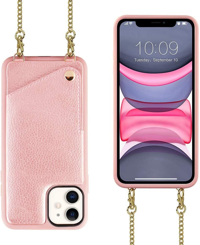 Wallet Case for iPhone 12 and iPhone12 Pro Wallet Case, JLFCH Crossbody Case with Credit Card Holder Lanyard Purse Women/Girly Protective for Apple iPhone 12/12 Pro (2020), 6.1 inch - Rose Gold
