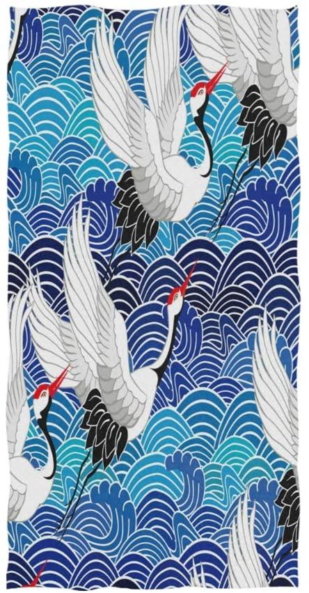 ALAZA Japanese Crane Bird Ocean Wave Soft Bath Hotel Spa Hand Gym Sport Towel 30 x 15 Inches
