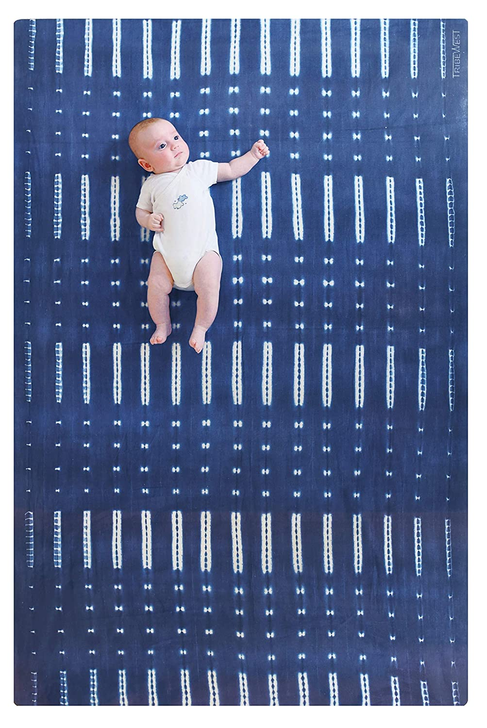 Tribe West Large, Stylish Playmat   Microfiber Suede and Durable, Natural Rubber (Mali Indigo)