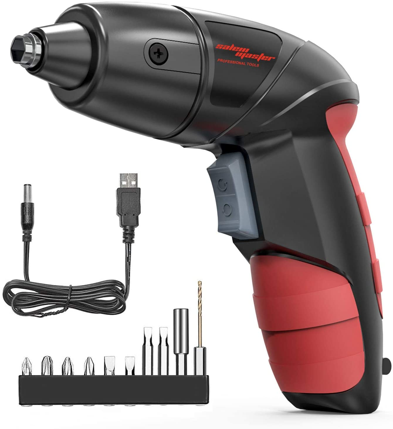 SALEM MASTER Cordless Screwdriver Electric Rechargeable Screwdriver 3.6V Lithium Ion Power Screw Guns with Battery Indicator for Household, Newbies and Experienced