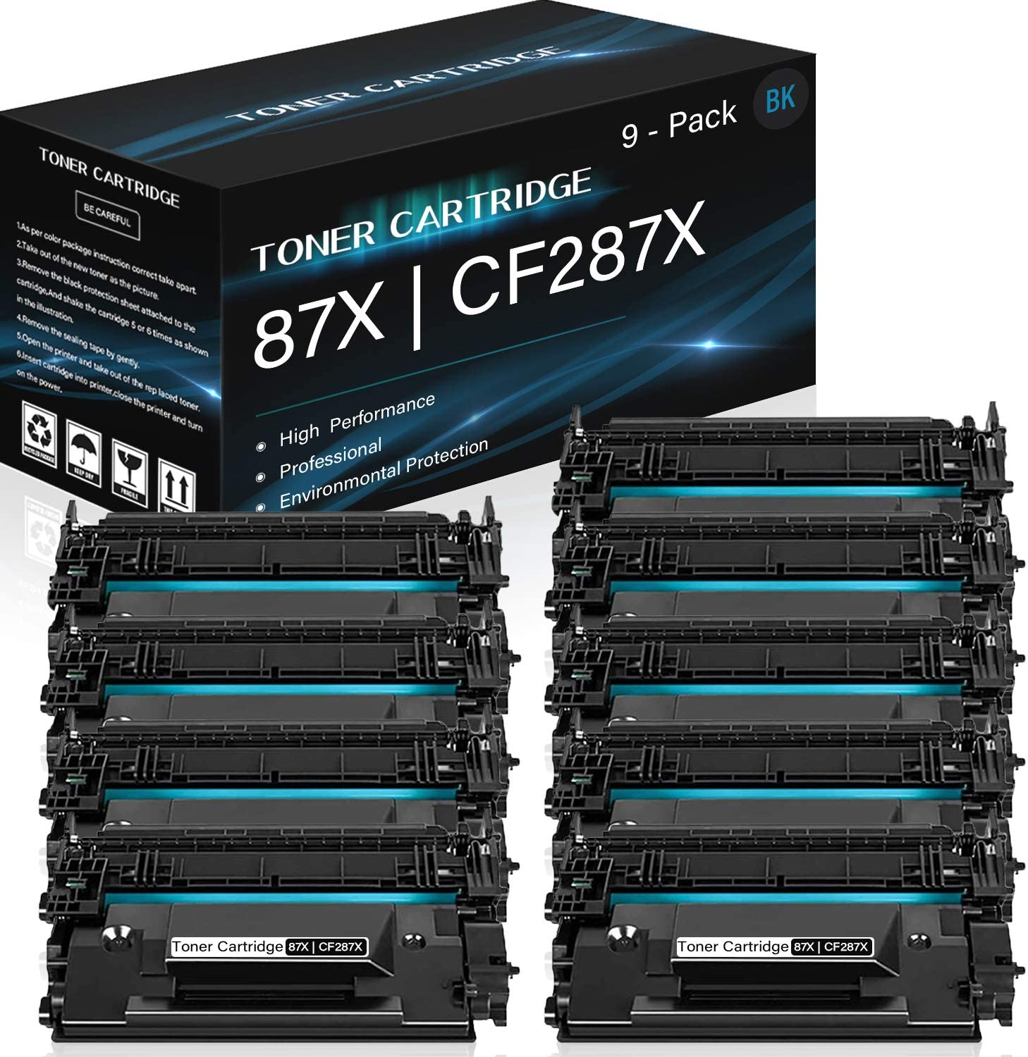 9 Pack 87X | CF287X (Black) Compatible High Yield Toner Cartridge Replacement for HP Laserjet Pro M501dn M506dn MFP M527dn Enterprise Flow MFP M527c Printers,Sold by Thurink.