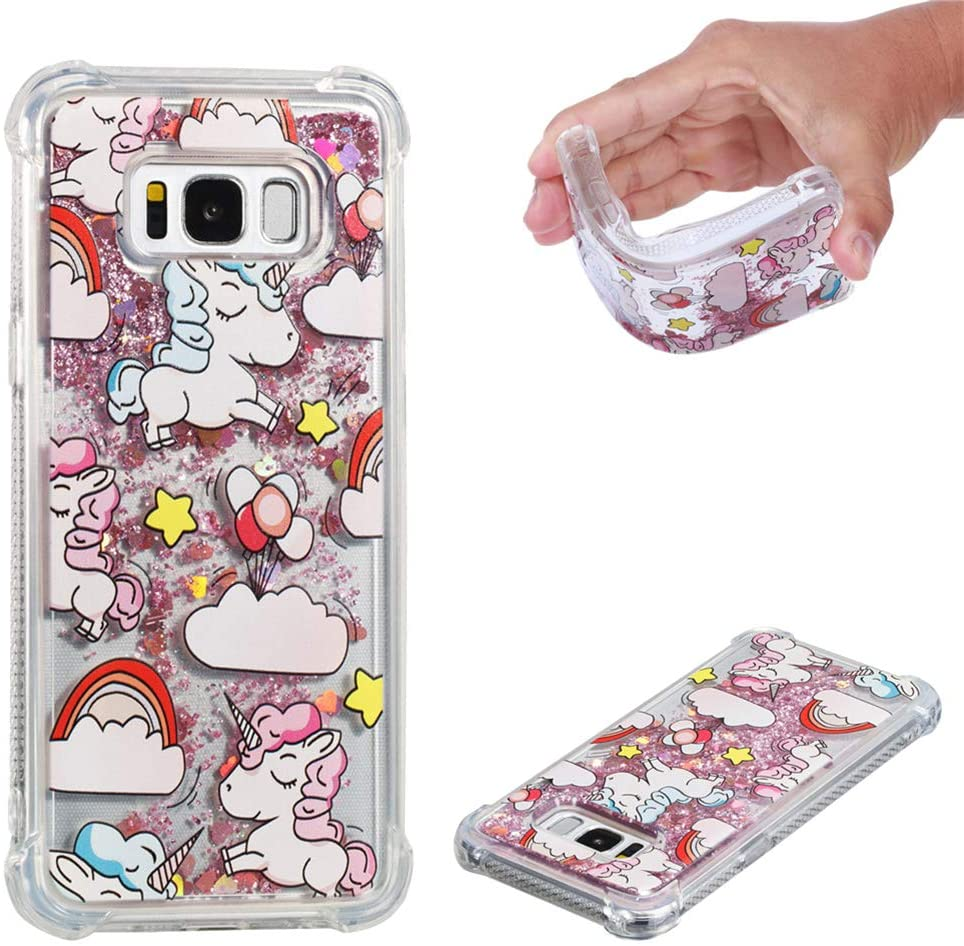 MEIKONST Case for Samsung Galaxy S8 Plus/ S8+, Pink Unicorn Liquid Bling Glitter Flowing Quicksand case Cute Clear Shockproof TPU Slim Protective Cover for Samsung Galaxy S8 Plus/ S8+,YB Pink Unicorn