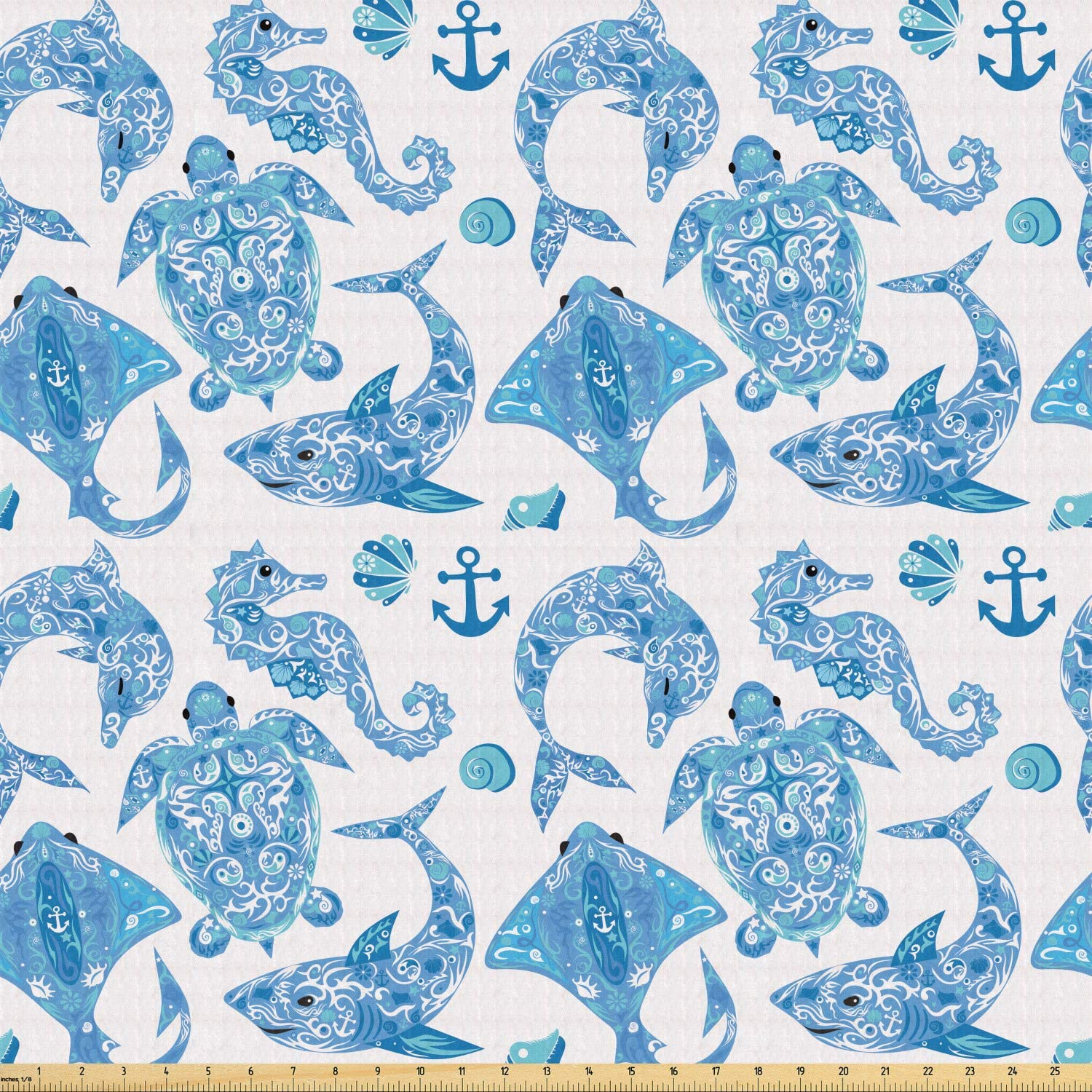 Lunarable Anchor Fabric by The Yard, Pattern with Turtle Dolphin Sea Horse Mollusk Shark Fauna Exotic Tropical Aquatic, Stretch Knit Fabric for Clothing Sewing and Arts Crafts, 1 Yard, Sky Blue