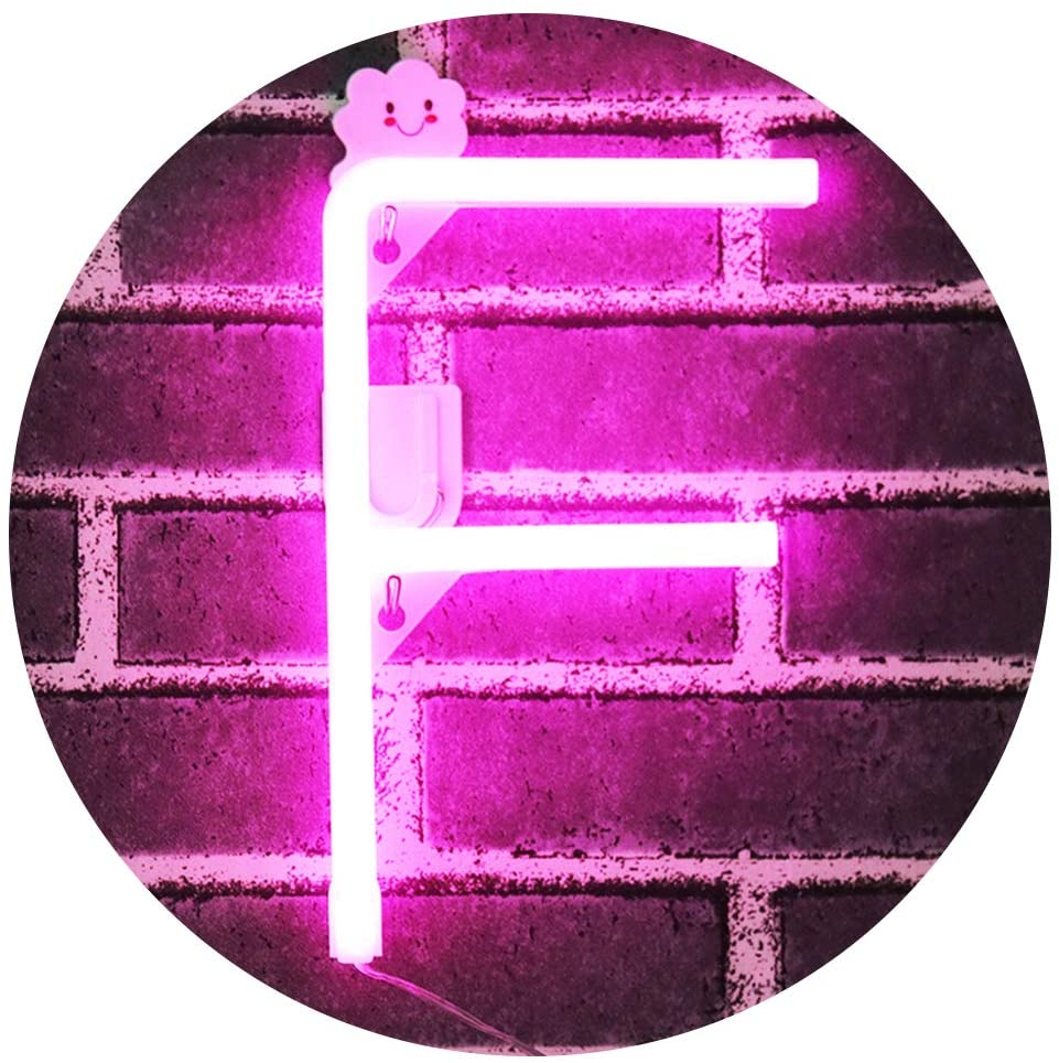 Obrecis Light Up Letters for Wall Decor, Neon Art Light Letters of The Alphabet Marry Me Decorations for Bedroom, Living Room, Wedding Party-Pink Letter F