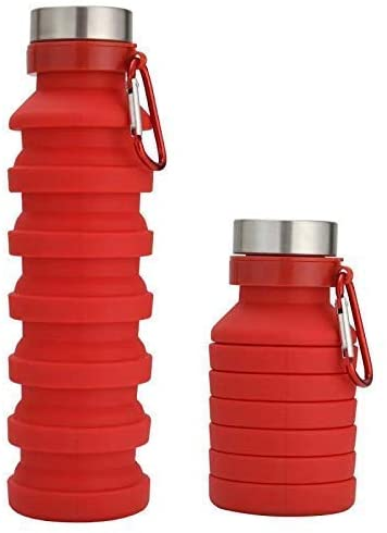 JayDee Red Collapsible Silicone Water Bottle - Compact Workout, Beach, Festival, Travel Drinking Container - Leak and Shockproof, 100% Safe Material - Easy to Clean with Wide Opening, Fits Ice Cubes