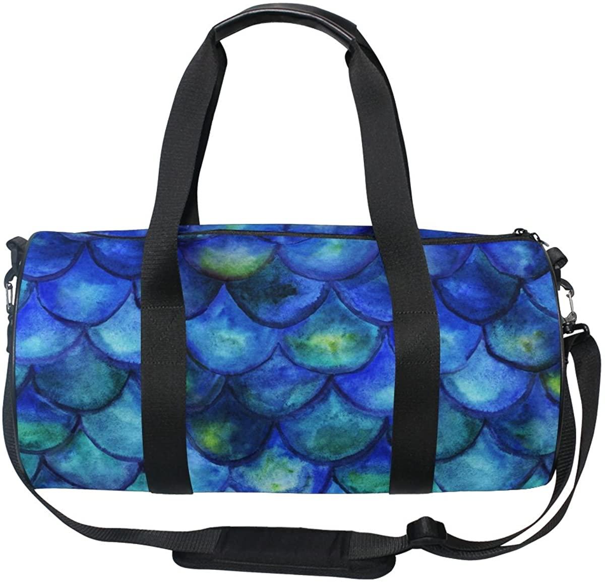 ALAZA Vintage Blue Mermaid Tale Sports Gym Duffel Bag Travel Luggage Handbag for Men Women