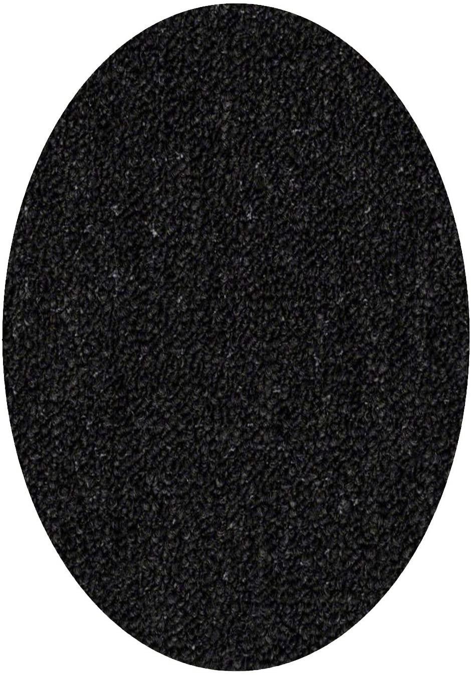 Home Queen IndoorOutdoor Commercial Black Color Area Rug - 1.5' x 2.25' Oval Mat