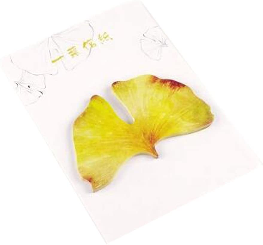 5 Pads Beautiful Leaves Office Perfect Self-Stick Note Sticky Notes Desktop Note, Yellow