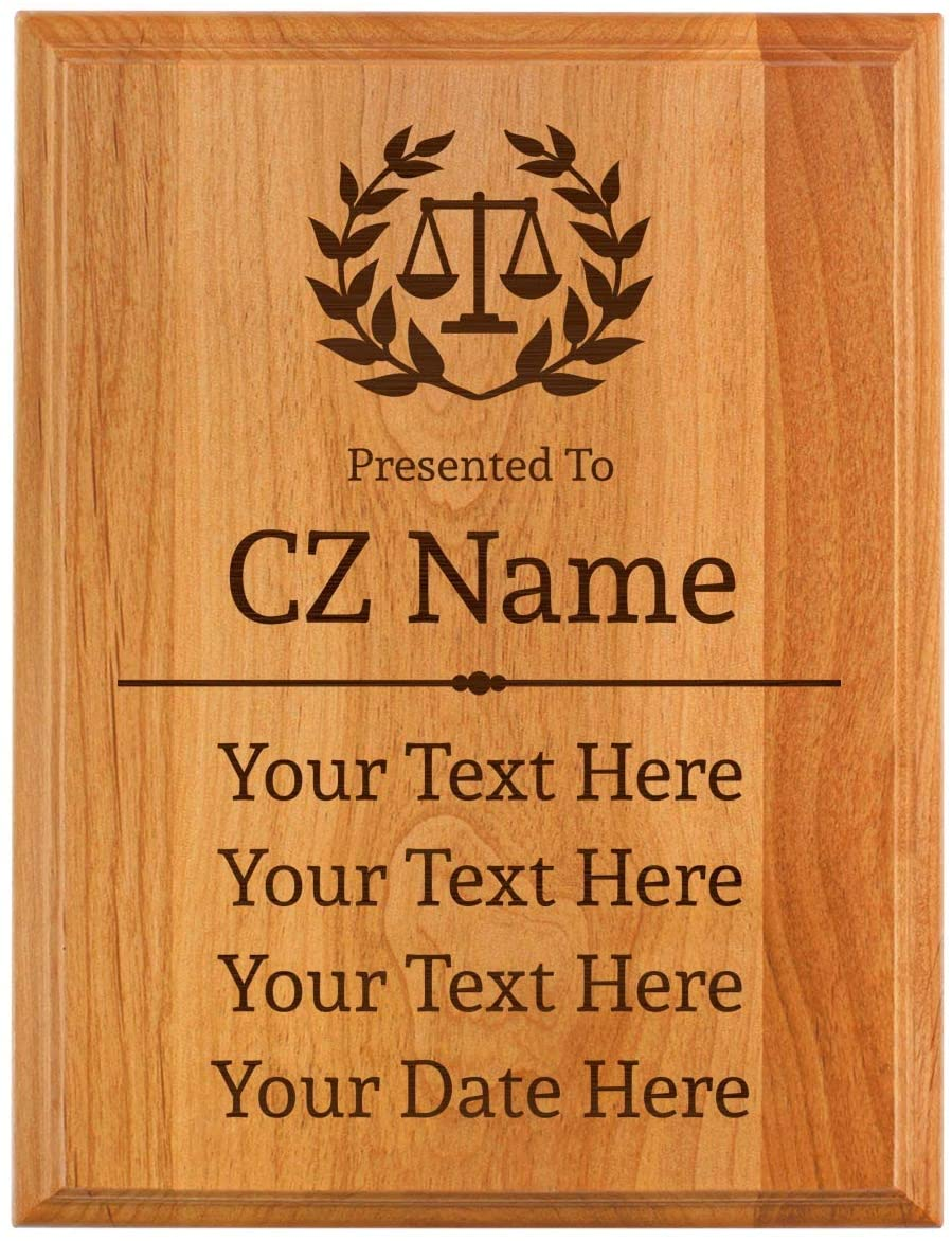 Lawyer Gift Lawyer Symbol 5 Lines with Your Text and Date Personalized 7x9 Oak Wood Engraved Plaque