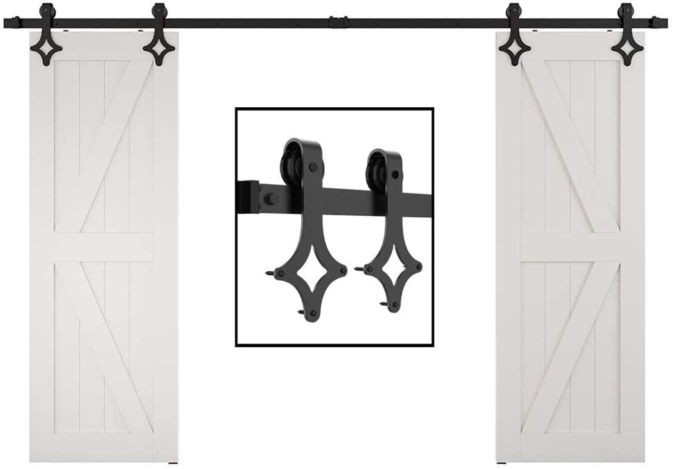 skysen 9FT Double Door Sliding Barn Door Hardware Track Kit -Heavy Duty-Black(Rhombic Shape)
