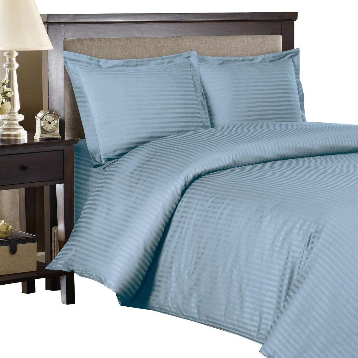 Royal Hotel Ultra Soft Duvet Cover Set, 3PC Duvet Set, Wrinkle-Free, Button Closer, Striped Sateen, Duvet Covers - King/Cal-King - Blue